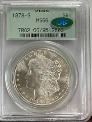 1878-s Morgan Silver Dollar Pcgs Ms 66 Ogh And Cac