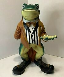 Frog Butler Statue - Frog Can Hold A Serving Tray Figure Figurine 18 Mr Toad