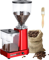 Huanyu Coffee Grinder Electric Flat Burr Grinding Machine Automatic Mill 35oz Co