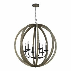 Feiss Allier 6 Light Weathered Oak Wood / Antique Forged N/a