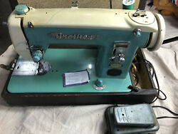 Vintage Brother Deluxe Precision Sewing Machine Made In Usa 1.2 Amp Aqua Blue