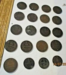 Stock 20 Coins Copper Kingdom D'italia 1861/1894 All Different From Bb A Mb