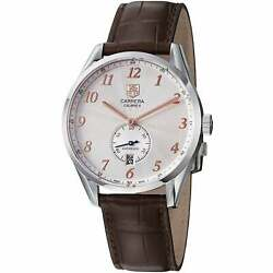 Tag Heuer Menand039s And039carreraand039 Silver Dial Brown Leather Strap