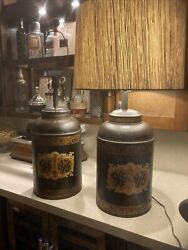 19th C. Tole Tea Canister Lamps Parnall And Sons English Painted And Gilt