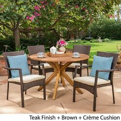 Stamford Outdoor 5 Piece Pe Wicker Dining Set With Circular