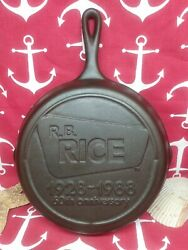 8 10 Lodge Cast Iron Skillet Advertising Rb Rice 60th Anniversary 1928-1988