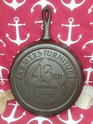 8 10 Lodge Cast Iron Skillet Advertising Farmers Furniture 43rd Anniversary 1