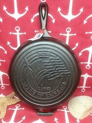 8 10 1/4 Lodge Cast Iron Skillet Advertising 2018 Made In America Flag