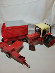 The Ertl Co. Red Die-cast Farming Equipment Tractor Trailers Toy Lot