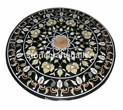 Marble Round Dining Table Tops Precious Floral Inlay Occasional Home Decors B089