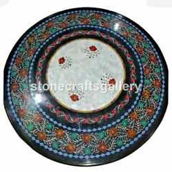 Black Marble Coffee Top Table Carnelian Mop Floral Inlay Art Home Decorates B037