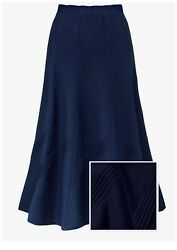 Womenandrsquos Navy Blue Skirt Plus Size 24 26 28 30 32 Pull On Elasticated Linen 508