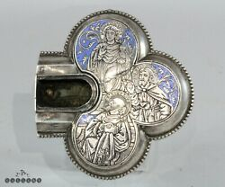 Antique 18 / 19th Century Silver And Enamel Reliquary