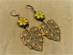 Ding Earrings Coppery Gold Lace Leaves Copper Metal Infills Handmade
