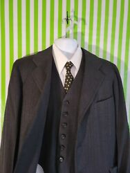 Vtg Hickey Freeman 2pc Gray Wool Suit 43r Pants 36x30 Tie Shirt And Vest =vtg