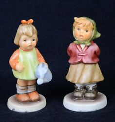 2 Vintage Hummel Figurines Tmk8 729 Natures Gift And 2181clear As A Bell 3.5h