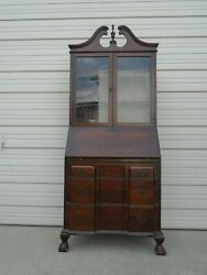 French Chippendale Drop Down Desk Cabinet Farmhouse Ball Claw Lion Foot Country