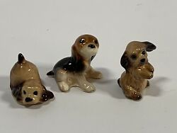 Vintage Miniature Hagen Renaker Figurines Dogs Beagles and Scruffy Breed