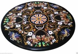 Black Marble Coffee Side Table Top Inlay Marquetry Mosaic Restaurant Home Decors
