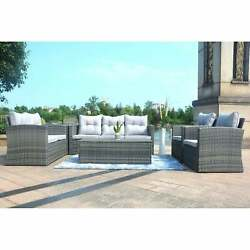 Moda 6 Pieces Wicker Sofa Set Outdoor Sectional Furniture Brown 9' X 12'