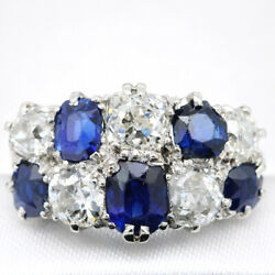 Antique 18ct White Gold, 2.01ct Old Cut Diamond And Sapphire Cluster Ring