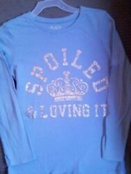 Girls Top Size M 7 8 Light Blue quot;SPOILED amp; LOVING ITquot; CROWN in gold lettering