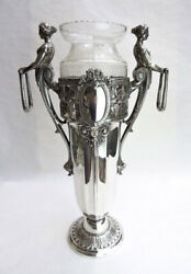 Rare Wmf Germany Silver-plate Neo-classical Vase Etched Crystal Insert - 21 In.