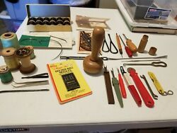 Vintage Sewing Notions Tools Wooden Spools Thread Seam Rippers Needles Mixed Lot
