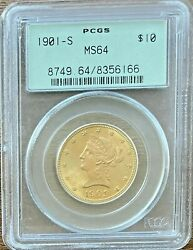 1901-s 10 Gold Coin Pcgs Ms64 - Liberty Eagle - Ms64 Premium