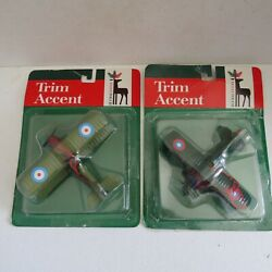 2 Vintage Military Christmas Ornament/toy Airplanes Velvetouchmanitowoc, Wi