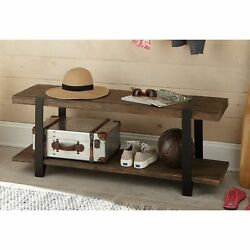 Carbon Loft Kenyon Natural Reclaimed Wood And Metal Bench Brown Industrial Farm