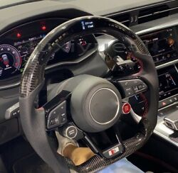 New Carbon Fiber Led Smart Steering Wheel+double Buttonfor For Audir8 Old To New