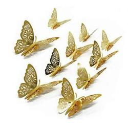 3D Butterfly Wall Stickers Butterfly Wall Decals for Home Decor Gold 24 Pcs