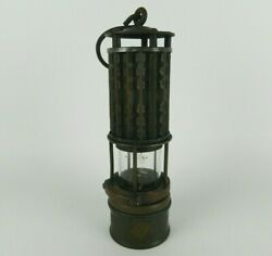 Antique Wolf Safety Lamp Miner's Lantern Permissible Mining Lamp Brass - Patina