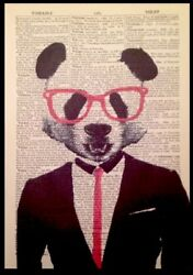 Panda Vintage Dictionary Page Print Wall Art Picture Hipster Animal In Suit Red