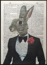 Hare Print Vintage Dictionary Page Art Picture Animal In Clothes Rabbit Suit