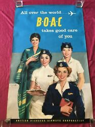 Orig. Boac Takes Good Care Of You 1959 Airline Travel Poster - Angel Cesselon
