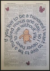 Winnie The Pooh Quote Vintage Dictionary Print Picture Wall Art Love Cute Gift