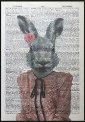 Hare Rabbit Print Vintage Dictionary Page Wall Art Picture Girl Female Animal
