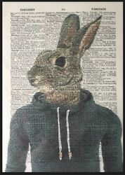 Hare Vintage Print Dictionary Page Wall Art Picture Rabbit Cool Animal Hoodie