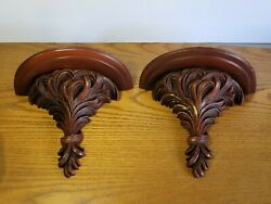 Vintage Syroco Wood Wall Display Shelf /sconces With Grooved Plate Shelves Pair