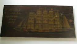 Antique Large Wood Panel With Ship Painting Black Last Voyage New York