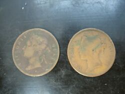 Lot Of 2 Victoria Straits Settlements One Cent Coins 1862 And 1892 E1