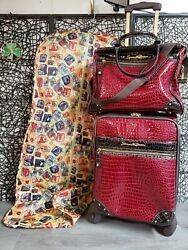 Samantha Brown Burgundy Red Spinner Luggage And Expandable Travel Overnight Bag