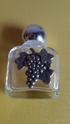 Vintage Collectible Small Glass Perfume Bottle Metal Application Vines Grapes