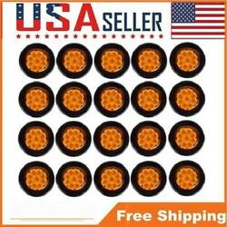 2 Round Amber Warning Led Light Bus Lamp Tractor Truck Fail Safe Flasher Light
