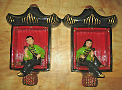Pair of Vintage 1950s Red amp; Black Chalkware Oriental Musician Plaques