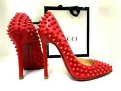 Louboutin So Kate 36 Red Spikes 120mm 12cm Sexy Leather Fetish Pumps High Heels