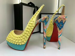 775andeuro Louboutin 38 Yellow Summer Snake Blue 150mm 16cm Leather Spike High Heels
