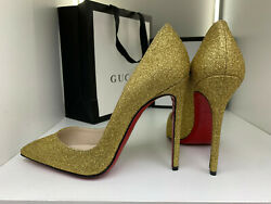 Louboutin Sold Out So Kate 38 Glitter Gold 120mm 12cm Leather Fetish High Heels